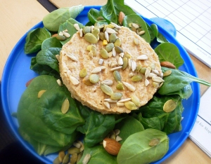 Lunch/ Dinners: Veggie or Black Bean burger with nuts/ seeds and spinach.
