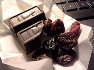 Dessert: Dark chocolate with dried cranberries