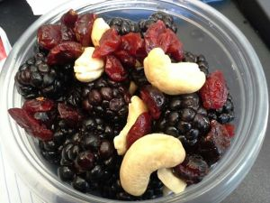 Snack: Blackberries w/ dried cranberries/ blueberries and cashew pieces.